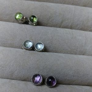 Silver Gem stud earrings 3 pair.